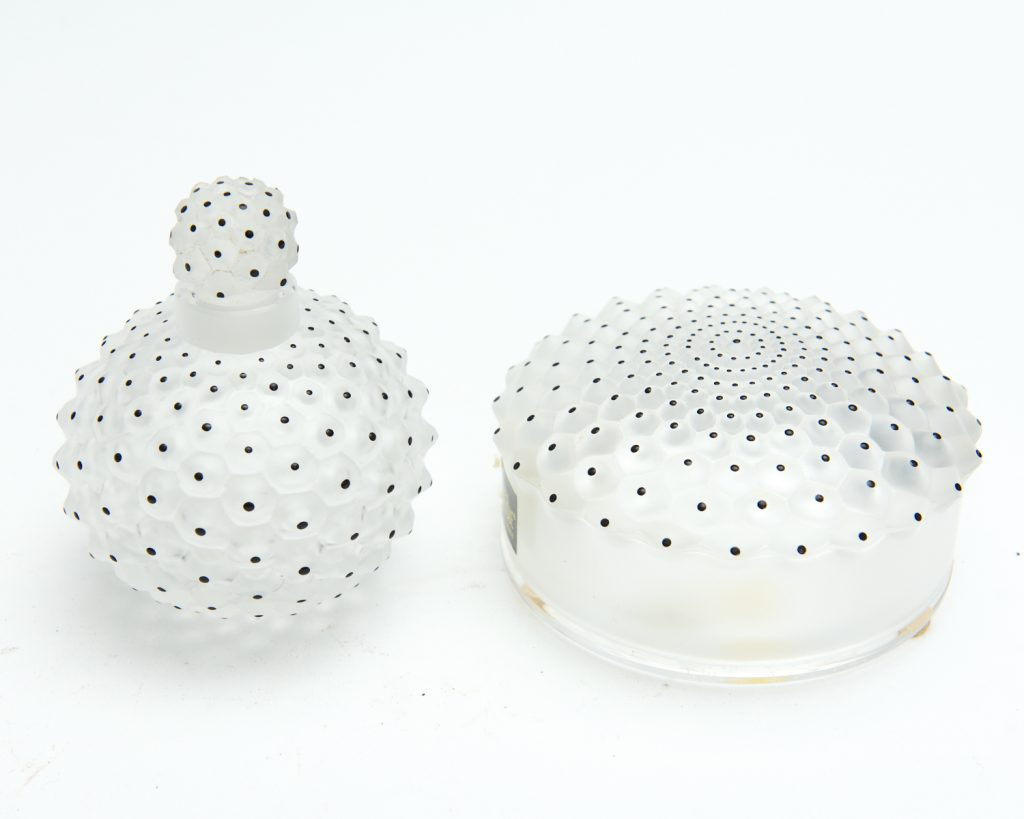 Lalique perfume bottle and power jar from downsizing and deceased estates available at auction