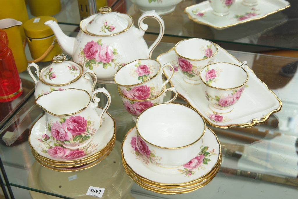 American Beauty tea set from downsizing and deceased estates available at auction